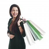 picture of salwar  - Happy woman carrying shopping bags - JPG