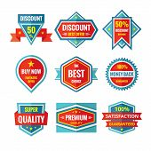 picture of logo  - Sale and discount vector badges in flat style design - JPG