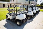 foto of buggy  - Golf buggy at the golf course parking - JPG