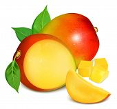 picture of mango  - Ripe fresh mango with slices and leaves - JPG