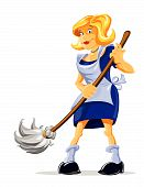 cartoon character housemaid with broom