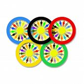 foto of olympiade  - multicolor olympic rings with little men isolated on the white background - JPG