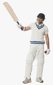 picture of cricket shots  - Cricket player showing his bat - JPG