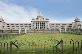 stock photo of vidhana soudha  - Facade of a government building - JPG
