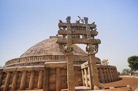 stock photo of ashoka  - Great Stupa built by Ashoka the Great at Sanchi - JPG