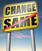 image of  habits  - change same repeat the old or innovate and go for progress in your life career or relationship break with bad habits road sign arrow  - JPG