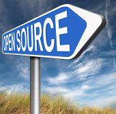 stock photo of open-source  - open source program software program or economy freeware internet data computer sharing  - JPG