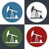 image of derrick  - Oil derrick round flat icon with long shadow - JPG