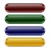 stock photo of oblong  - vector illustration of the four oblong shiny buttons - JPG