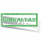 stock photo of gibraltar  - Green stamp with name Gibraltar and shadow - JPG