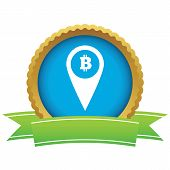 pic of bitcoin  - Certificate seal with map marker with bitcoin symbol - JPG