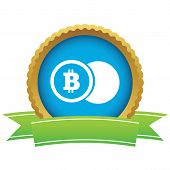 image of bitcoin  - Certificate seal with image of coin with bitcoin symbol - JPG