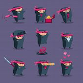 picture of ninja  - Collection of cute cartoon ninja warriors with various weapon - JPG