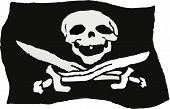 picture of pirate flag  - rough sketchy drawing style illustration of a pirate skull flag - JPG