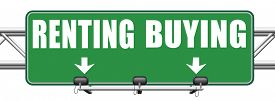 image of arrow  - rent or buy mortgage for bank loan for home ownership renting or buying and owning house a flat building or property road sign arrow  - JPG