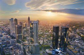 picture of frankfurt am main  - Aerial view of Frankfurt am Main skyline during golden hour - JPG