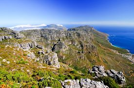 picture of landforms  - Landscape surrounding Table Mountain in Cape Town South Africa - JPG