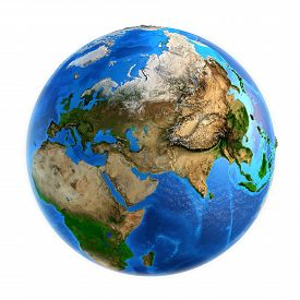 picture of landforms  - Detailed picture of the Earth and its landforms isolated on white - JPG