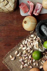 picture of raw materials  - thai Food background dry and fresh raw material on wood - JPG