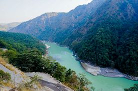 foto of gang  - Himalya mountain range with the Ganges flowing through it - JPG