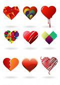 conjunto de corações