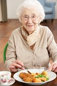 foto of independent woman  - Senior Woman Enjoying Meal - JPG
