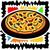 Vector illustration of a pizza.