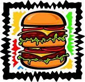 Vector illustration of a tower hamburger.