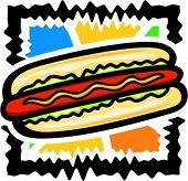 Vector illustration of a hot dog.