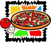 A vector illustration of a pizza with onion and tomato.