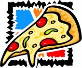 A vector illustration of a slice of pizza.