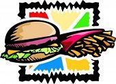 A vector illustration of a hamburger and chips.