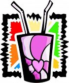 A vector illustration of a pop drink/soda with two straws.