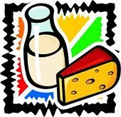 A vector illustration of a milk and a slice of cheese.