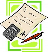 Paper with calculator and pen.Vector illustration