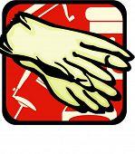 Rubber Gloves.Pantone colors.Vector illustration