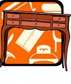 Wooden Bureau.Pantone colors.Vector illustration