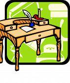 Old wooden bureau.Pantone colors.Vector illustration