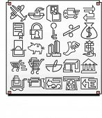 A set of 25 vector icons of commerce objects, where each icon is drawn with a single meandering line