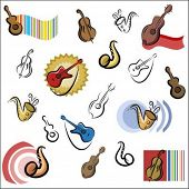 A set of vector icons of music instrument in color, and black and white renderings.