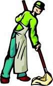A ready-to-cut vector illustration of a cleaner, washing the floor with a mop.