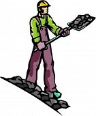 A ready-to-cut vector illustration of a miner, digging ore with a shovel.