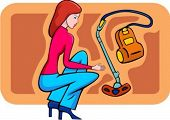 A vector illustration of a shopping girl looking at a vacuum-cleaner.