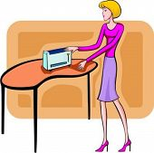 A vector illustration of a shopping blonde girl looking at a toaster.