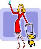 Uma ilustração do vetor de uma garota loira compra, empurrando um carrinho e segurando uma pequena caixa.