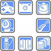 A set of 8 computer technology vector icons.
