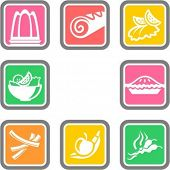 A set of 8 food vector icons.