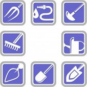 A set of 8 vector icons of gardening tools. Check my portfolio for many more images of this series.