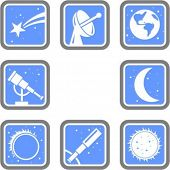 A set of 8 vector icons of space objects.