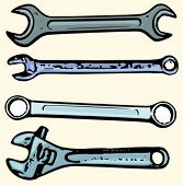 A set of 4 vector illustrations of spanners and wrenches.